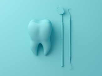 Teeth with dental plaque tool. Concept Dental care cleaning bacterial plaque on pastel background. Minimal flat lay concept. 3d render